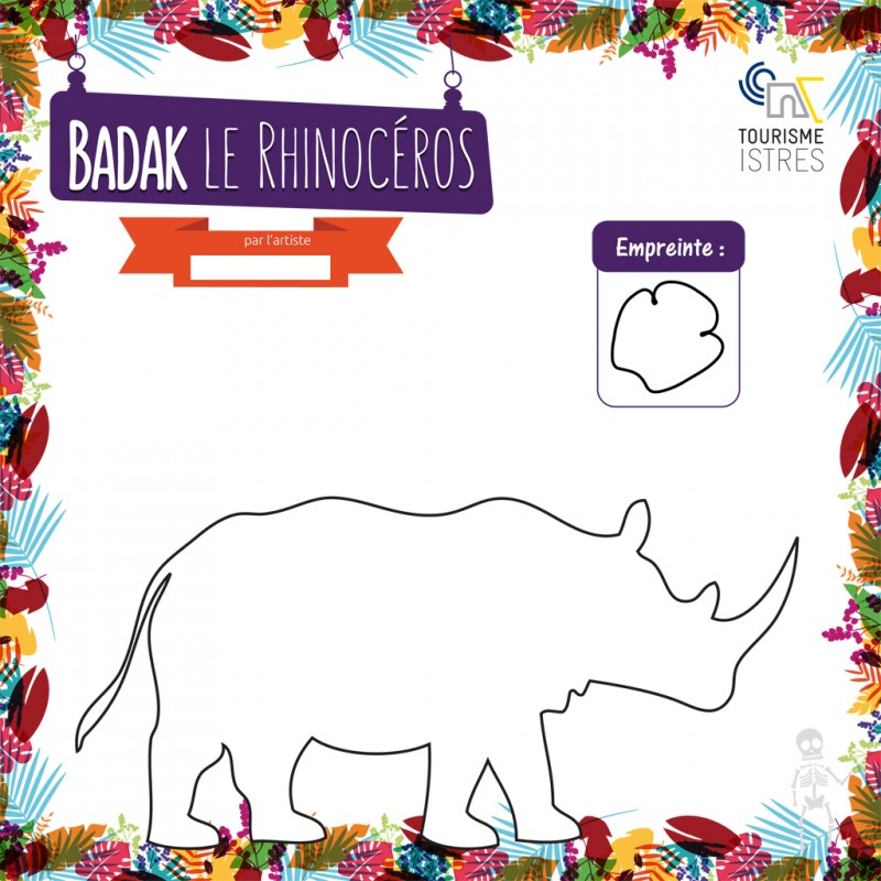 Coloriage Badak le Rhinocéros