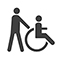 Accessible for wheelchairs with assistance